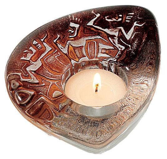 """Mats Jonasson: Glass tea candle holder """"Fire Dance"""""""