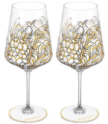 "2 Piece Set of Red Wine Glasses ""My Charming Garden"""