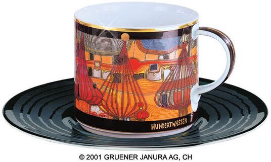 """Friedensreich Hundertwasser: (656B) Künstlertasse """"L'Expulsion"""""""