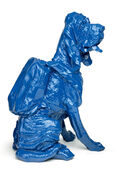 "Sculpture ""Cloned Bloodhound with Rucksack"" (2010), blue"