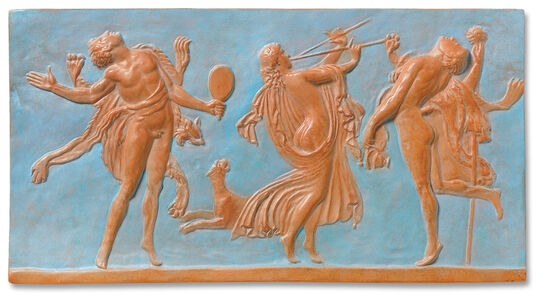 "Wall relief ""Faun and Bacchante"", Art cast"