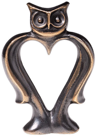 "Bernardo Esposto: Sculpture ""Heart-shaped Owl"", bronze"