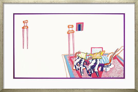 """Uwe Lausen: Bild """"Stühle"""" (1968), gerahmt"""