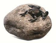 "Garden Sculpture ""Frog"", copper on stone"