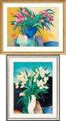 "2 Bilder ""Tulipes au vase bleu"" + ""Porcelaine blanche"" im Set"