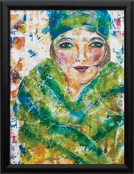 """Bild """"Die 30er - Dame in Grün"""", gerahmt"""
