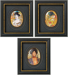 Set of 3 miniature porcelain pictures with artist designs