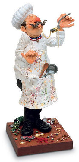 """Guillermo Forchino: Caricature """"The master chef - Chef du cuisine"""" art castings, Handpainted."""