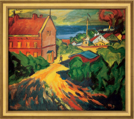 """Max Pechstein: Painting """"The Red House in Nidden"""", framed"""