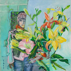 "Bild ""Artist and flowers"" (2017) (Unikat)"