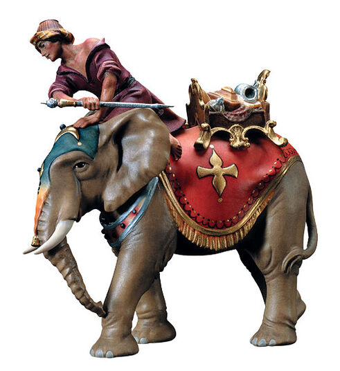Nativity figurine 'Elephant with Mahout', hand-painted