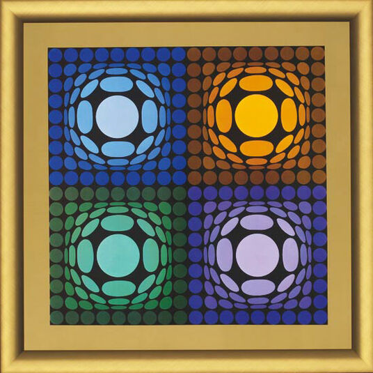 Victor Vasarely: Painting 'VEGA-BI-ARCT', framed