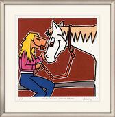 "Bild ""Frau, Pferd, blonde Mähne"" (2010), gerahmt"