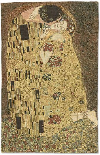 """Gustav Klimt: Wandteppich """"Der Kuss"""" (66 x 85 cm)"""