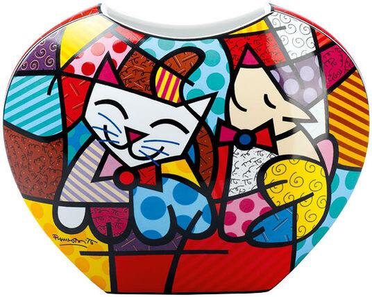 """Romero Britto: Porcelain vase """"Happy Cat Snob Dog"""""""