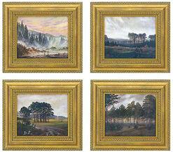 Caspar David Friedrich: Tageszeitenzyklus - vier Porzellanbilder im Set