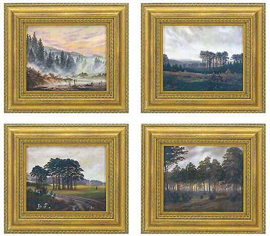 Times of the day cycle - four porcelain paintings in a set