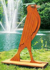 """Skulptur """"Der Falke"""", Stahl mit Bronze"""