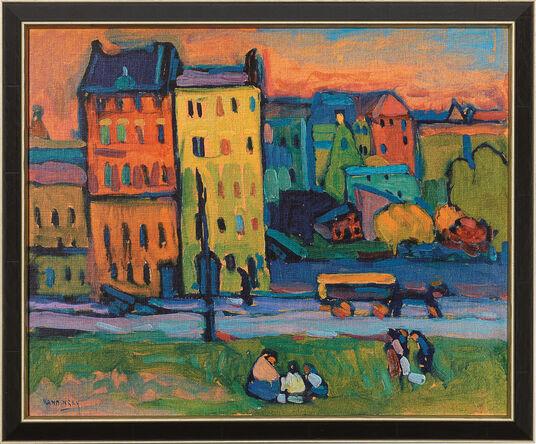 """Wassily Kandinsky: Bild """"Häuser in München"""" (1908), gerahmt"""