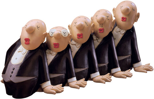 Loriot: Sculpture 'Comedian Harmonists', version in cold casting, hand-painted