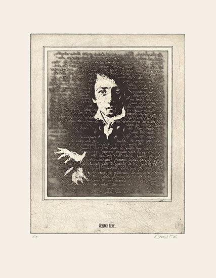 """Etching """"The Portrait of Heinrich Heine"""""""