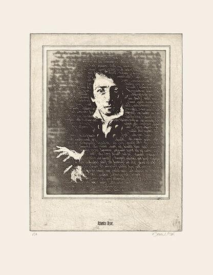 """Bodo W. Klös: Etching """"The Portrait of Heinrich Heine"""""""