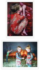 """2 Bilder """"Mädchen im roten Kleid"""" + """"Feuer"""" im Set, Exklusiv-Editionen für ARTES"""