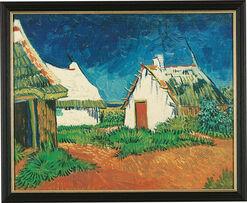 "Bild ""Drei weiße Hütten in Saintes-Maries-de-la-Mer"" (1888), gerahmt"