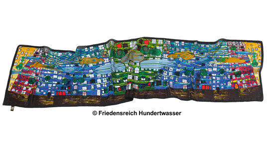 """Friedensreich Hundertwasser: (777) Scarf """"Song of the Whales"""""""