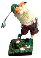 "Athlete Caricature ""The Golfer"", synthetic resin"