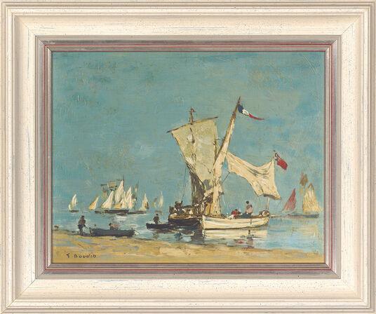 "Louis Eugen Boudin: Bild ""Segelboote"", gerahmt"