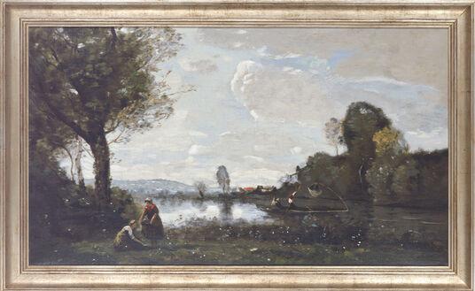 """Camille Corot: Bild """"Seinelandschaft bei Chatou"""", gerahmt"""