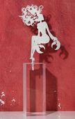 """Sternzeichen-Skulptur """"Krebs"""" (22.6.-22.7.), Edelstahl auf Sockel"""