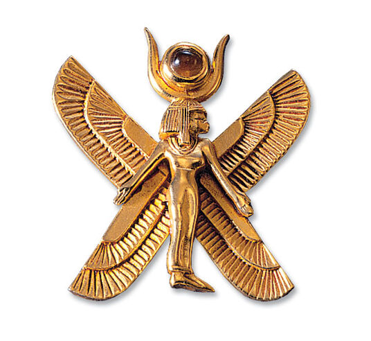 "Ancient Egyptian zodiac sign of ""Virgo"" pin brooch (24.8.-23.9.) with a lucky stone,"