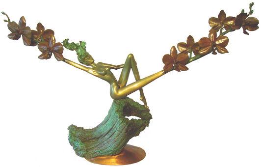 """Marc van Megen: Skulptur """"Orchid at Dawn"""", Bronze"""