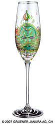 "(690) Sparkling Wine Glass ""Green Power"""