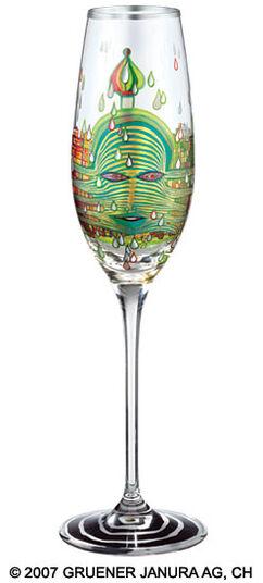 """Friedensreich Hundertwasser: (690) Sektglas """"Green Power"""""""