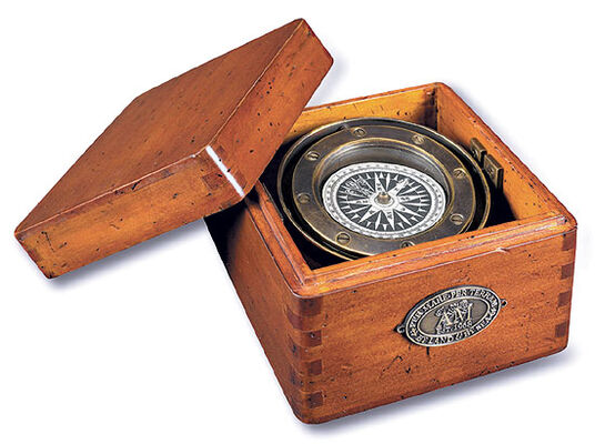Life Boat Bronze Compass in Wooden Box
