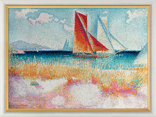 "Henri Edmond Cross: Picture ""Regatta"" (1895) in museum frame"