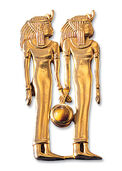 "Ancient Egyptian zodiac sign of ""Gemini"" (21.5.-21.6.) pin brooch with a lucky stone"