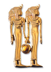"""Ancient Egyptian zodiac sign of """"Gemini"""" (21.5.-21.6.) pin brooch with a lucky stone"""