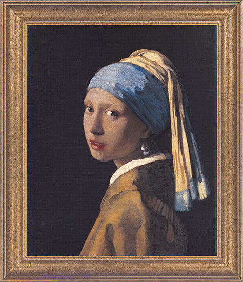 """Painting """"The Girl with a Pearl Earring"""" (1665) in a frame"""