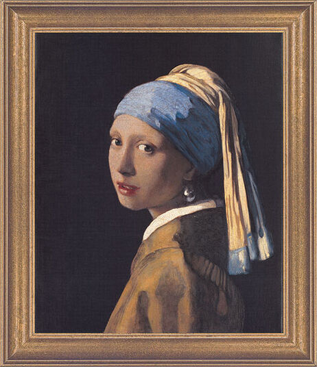 "Jan Vermeer van Delft: Painting ""The Girl with a Pearl Earring"" (1665) in a frame"