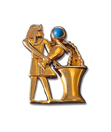 "Ancient Egyptian zodiac sign ""Aquarius"" (21.1.-19.2.) pin brooch with a lucky stone."