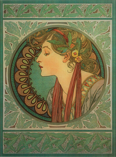 Glass Painting Quot Laurel Quot 1901 Alphonse Mucha