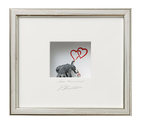"3D Painting ""Thick friendship"", framed"