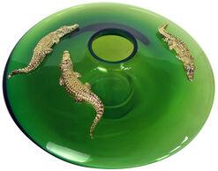 "Vase ""Alligatore Gold"", Glas/Zinn"