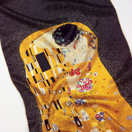 "Gustav Klimt: Silk scarf ""The Kiss"", Black"