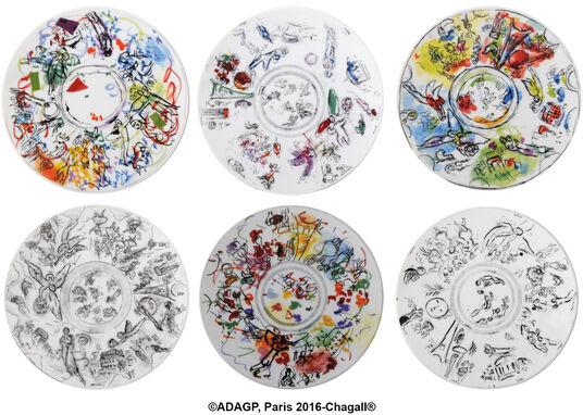 Marc Chagall: Kollektion Marc Chagall von Bernardaud - Set von 6 Salattellern mit Künstlermotiven, Porzellan
