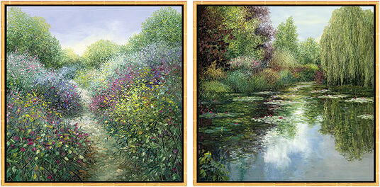 """Jean-Claude Cubaynes: Set of 2 pictures """"Fleurie Road in Provence"""" + """"The pond with grazing"""""""